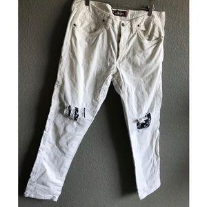 Jaggy McQueen patchwork distressed white jeans